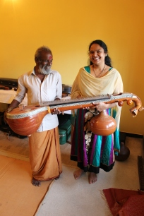 Punya visits with Nataraj, her veena maker.