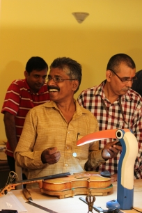 Murali is the first to complete a successful soundpost cutting - a round of applause is in order